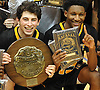 Mike Mariconda #1, left, and Josh Nicholas #15 of St. Anthony's pose for pictures after their team's 49-45 win over Kellenberg in the NSCHSAA varsity boys basketball final at Hofstra University on Tuesday, Mar. 1, 2016.