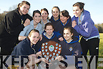 Michelle Fleming, Saundra O'Connor, Maura O'Connor, Elaine O'Donoghue, Sorcha Daly, Meadhbh Daly, Katie O'Connor, Orla Bruton and Rebecca Mulcahy, Presentation School Killarney, who were the winners  of the girls schools competition in the Kerry Colleges Cross Country competitions in Killarney on Wednesday..