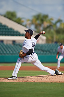 Detroit Tigers pitcher Angel De Jesus (22) delivers a pitch during a Florida Instructional League game against the Pittsburgh Pirates on October 6, 2018 at Joker Marchant Stadium in Lakeland, Florida.  (Mike Janes/Four Seam Images)