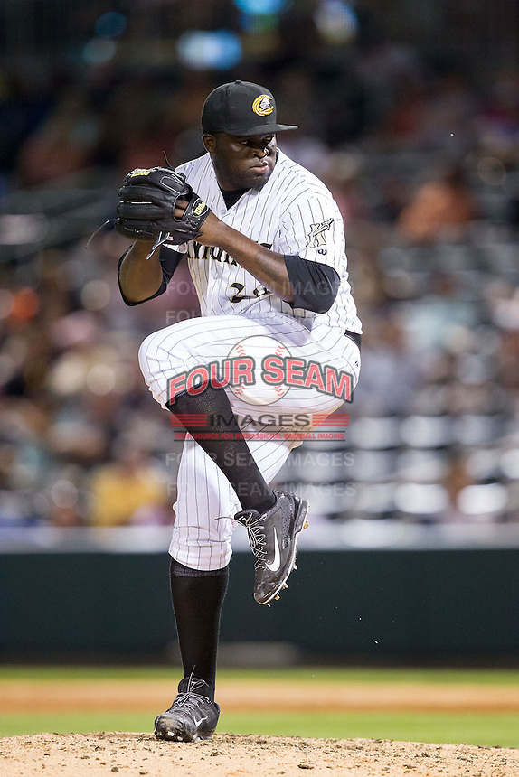 Charlotte Knights relief pitcher Maikel Cleto (32) in action against the Rochester Red Wings at BB&T Ballpark on June 5, 2014 in Charlotte, North Carolina.  The Knights defeated the Red Wings 7-6.  (Brian Westerholt/Four Seam Images)