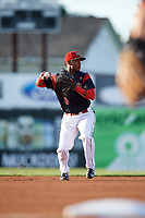 Batavia Muckdogs shortstop Marcos Rivera (8) throws to first base during a game against the West Virginia Black Bears on August 5, 2017 at Dwyer Stadium in Batavia, New York.  Batavia defeated West Virginia 3-2.  (Mike Janes/Four Seam Images)