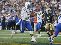 Annapolis, MD - October 7, 2017: Air Force Falcons quarterback Arion Worthman (2) runs a touchdown during the game between Air Force and Navy at  Navy-Marine Corps Memorial Stadium in Annapolis, MD.   (Photo by Elliott Brown/Media Images International)