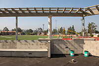 McKinnon Family Tennis Center and Robinson Terrace<br /> Concrete is poured for the first time in the new De Mandel Aquatic Center.<br /> Occidental's new 58,000 square-foot complex will make it possible for Oxy's swimming, diving, water polo and tennis teams to train and compete in facilities that meet NCAA and conference standards.<br /> Photographed April 26, 2019.<br /> (Photo by Marc Campos, Occidental College Photographer)