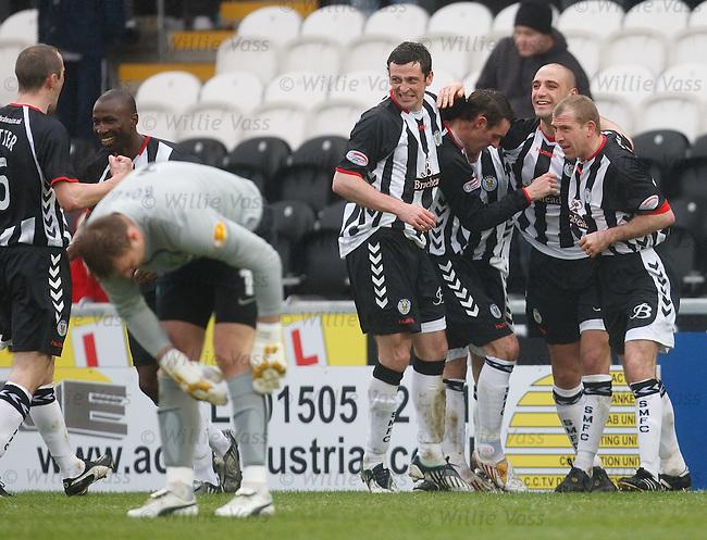 Billy Mehmet celebrates his penalty goal for St Mirren