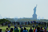 Scott Piercy (USA) Tiger Woods (USA) and J.T. Poston  (USA) during the first round of  The Northern Trust, Liberty National Golf Club, Jersey City, New Jersey, USA. 08/08/2019.<br /> Picture Michael Cohen / Golffile.ie<br /> <br /> All photo usage must carry mandatory copyright credit (© Golffile | Michael Cohen)
