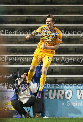 Greenock Morton v St Johnstone...27.10.15  League Cup Quarter Final, Cappielow...<br /> Denny Johnstone celebrates putting Morton 1-0 up<br /> Picture by Graeme Hart.<br /> Copyright Perthshire Picture Agency<br /> Tel: 01738 623350  Mobile: 07990 594431