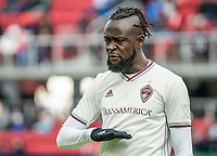 WASHINGTON, DC - FEBRUARY 29: Kei Kamara #23 of the Colorado Rapids during a pause in the play during a game between Colorado Rapids and D.C. United at Audi Field on February 29, 2020 in Washington, DC.