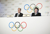 December 7th 2017, LAUSANNE, Switzerland;   International Olympic Committee (IOC) spokesman Mark Adams (L) and Christophe Dubi, Olympic Games Olympische Spiele Olympia OS executive director of the IOC, attend a press conference in Lausanne, Switzerland, Dec. 6 2017. The IOC on Tuesday decided to suspend the Russian Olympic Committee from the 2018 Pyeongchang Winter Olympic Games, while paving the way for clean Russian athletes to compete without bearing the Russian national flag