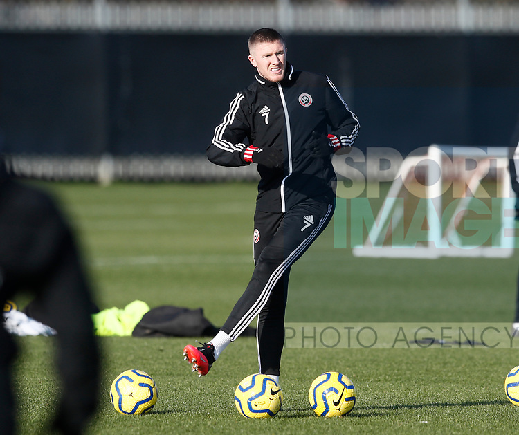 John Lundstram of Sheffield Utd during the Press Conference & Training at the Steelphalt Academy, Sheffield. Picture date: 7th February 2020. Picture credit should read: Simon Bellis/Sportimage
