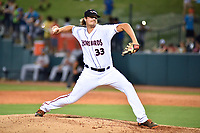 Northern Divisions pitcher Matthias Dietz (33) of the Delmarva Shorebirds delivers a pitch during the South Atlantic League All Star Game at First National Bank Field on June 19, 2018 in Greensboro, North Carolina. The game Southern Division defeated the Northern Division 9-5. (Tony Farlow/Four Seam Images)
