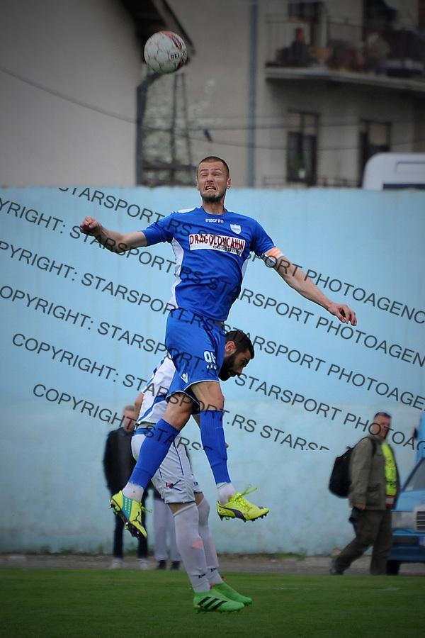 Fudbal Super liga season 2015-2016<br /> Novi Pazar v Radnik (Surdulica)<br /> Milos Tintor u skoku<br /> Novi Pazar, 10. 4. 2016<br /> foto: Emir Sadovic/Starsportphoto &copy;