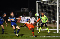 Kansas City, MO - Saturday May 07, 2016: Houston Dash forward Chioma Ubogagu (9) gets an assist against FC Kansas City defender Becky Sauerbrunn (4) during a regular season National Women's Soccer League (NWSL) match at Swope Soccer Village. Houston won 2-1.