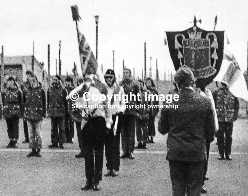 Members of the  loyalist paramilitary, Ulster Defence Association, UDA, celebrate the Twelfth in Long Kesh Prison near Lisburn, N Ireland. 197407120381<br />
