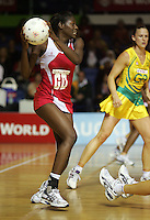 16.11.2007 England's Sonia Mkoloma in action during the Australia v England match at the New World Netball World Champs held at Trusts Stadium Auckland New Zealand. Mandatory Photo Credit ©Michael Bradley.