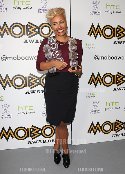 Emeli Sande in the press room for The MOBO awards 2012 held at the Echo Arena, Liverpool. 03/11/2012 Picture by: Henry Harris / Featureflash