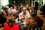 Veteran Anthony Robinson (C), who was in the Army from 1978-1985, talks in a breakout group during the Veteran-Civilian Dialogue at Intersections International on February 4, 2011 in New York City.  (PHOTOGRAPH BY MICHAEL NAGLE)