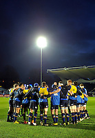 The Leinster team huddle together during the pre-match warm-up. European Rugby Champions Cup match, between Leinster Rugby and Bath Rugby on January 16, 2016 at the RDS Arena in Dublin, Republic of Ireland. Photo by: Patrick Khachfe / Onside Images