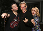 "Alex Brightman, Billy Idol and Sophia Anne Caruso backstage at ""Beetlejuice The Musical"" on Broadway at the Winter Garden Theatre on July 30, 2019 in New York City."