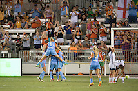 Houston, TX - Saturday July 16, 2016: Amber Brooks celebrates scoring, Ellie Brush during a regular season National Women's Soccer League (NWSL) match between the Houston Dash and the Portland Thorns FC at BBVA Compass Stadium.