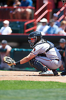 Altoona Curve catcher Reese McGuire (7) awaits a pitch during a game against the Erie SeaWolves on July 10, 2016 at Jerry Uht Park in Erie, Pennsylvania.  Altoona defeated Erie 7-3.  (Mike Janes/Four Seam Images)