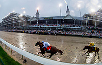 LOUISVILLE, KY - MAY 05: Justify #7, ridden by jockey Mike Smith, wins the 144th running of the Kentucky Derby during the 144th Kentucky Derby at Churchill Downs on May 5, 2018 in Louisville, Kentucky. (Photo by Scott Serio/Eclipse Sportswire/Getty Images)