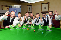 17-1-2016: Three-in-a-row Munster Championships for New Institute, Nenagh in the Gleneagle Hotel Munster Snooker Championship in Killarney on Sunday night, from left, Tony Seymore, Brendan O'Donoghue, Mark Walsh, captain receiving the cup from Andrew Spillane of The Gleneagle group, David Horan, Andrew McCloskey and Tom Gleeson.<br /> Photo Don MacMonagle<br /> <br /> <br /> PR PHOTO FROM GLENEAGLE