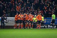 27th December 2019; Dens Park, Dundee, Scotland; Scottish Championship Football, Dundee Football Club versus Dundee United; Nicky Clark of Dundee United is congratulated after scoring for 1-0 by in the 5th minute - Editorial Use