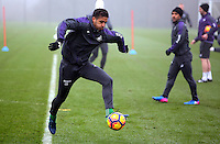 Kyle Naughton controls the ball during the Swansea City Training at The Fairwood Training Ground, Swansea, Wales, UK. Wednesday 22 February 2017