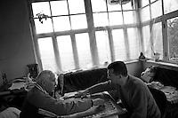 """Nagorny-Karabach, 09.05.2011, Shushi. Albert Khatchatrian und Armen Rakedjan spielen Backgammon. """"The Twentieth Spring"""" - ein Portrait der s¸dkaukasischen Stadt Schuschi, 20 Jahre nach der Eroberung der Stadt durch armenische K?mpfer 1992 im B¸gerkrieg um die Unabh?ngigkeit Nagorny-Karabachs (1991-1994). Albert Khatchatrian and Armen Rakedjan are playing backgammon. """"The Twentieth Spring"""" - A portrait of Shushi, a south caucasian town 20 years after its """"Liberation"""" by armenian fighters during the civil war for independence of Nagorny-Karabakh (1991-1994)..Albert Khatchatrian et Armen Rakedjan jouent au backgammon. """"Le Vingtieme Anniversaire"""" - Un portrait de Chouchi, une ville du Caucase du Sud 20 ans après sa «libération» par les combattants arméniens pendant la guerre civile pour l'indépendance du Haut-Karabakh (1991-1994)..© Timo Vogt/Est&Ost, NO MODEL RELEASE !!"""