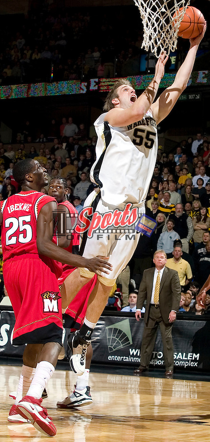 Wake Forest's Kyle Visser (55) drives to the basket for two of his team high 16 points during second half action versus Maryland at the LJVM Coliseum in Winston-Salem, NC, Saturday, February 3, 2007.  The Terrapins defeated the Demon Deacons 79-72.