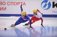 "SHORT TRACK: MOSCOW: Speed Skating Centre ""Krylatskoe"", 14-03-2015, ISU World Short Track Speed Skating Championships 2015, Elise CHRISTIE (#022   GBR), Kasandra BRADETTE (#007   CAN), ©photo Martin de Jong"