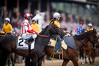 BALTIMORE, MD - MAY 20:  Cloud Computing #2 with Javier Castellano up during the Post Parade for the Preakness Stakes at Pimlico Race Course on May 20, 2017 in Baltimore, Maryland. (Photo by Alex Evers/Eclipse Sportswire/Getty Images)