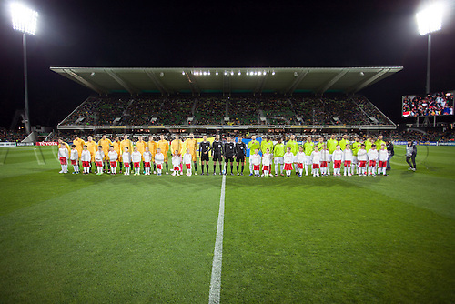 01.09.2016. nib Stadium, Perth, Australia. World Cup Football Qualifier. Australia versus Iraq. Australian and Iraq players line up for the National Anthems.