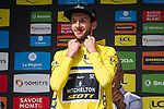 Race leader Adam Yates (GBR) Mitchelton-Scott retains the Yellow Jersey at the end of Stage 6 of the Criterium du Dauphine 2019, running 229km from Saint-Vulbas - Plaine de l'Ain to Saint-Michel-de-Maurienne, France. 14th June 2019.<br /> Picture: Mario Stiehl/Radsport | Cyclefile<br /> All photos usage must carry mandatory copyright credit (© Cyclefile | Radsport/Mario Stiehl)