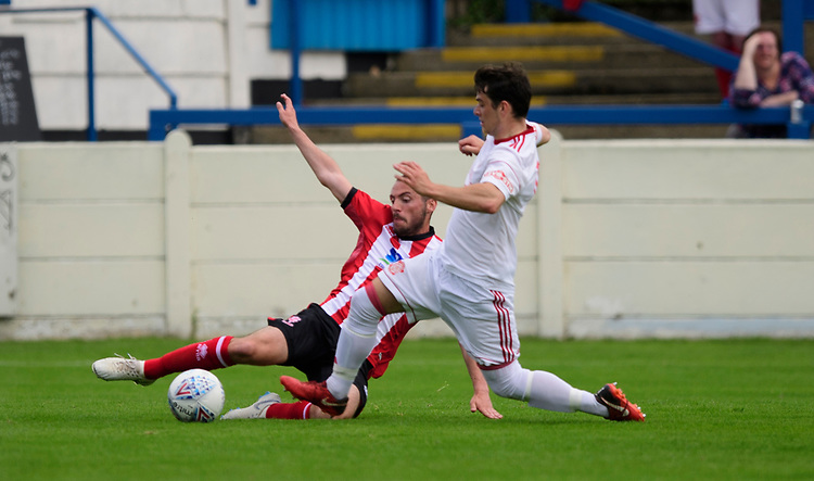 Lincoln City's trialist vies for possession with Lincoln United's Jack Whitewick<br /> <br /> Photographer Chris Vaughan/CameraSport<br /> <br /> Football Pre-Season Friendly (Community Festival of Lincolnshire) - Lincoln City v Lincoln United - Saturday 6th July 2019 - The Martin & Co Arena - Gainsborough<br /> <br /> World Copyright © 2018 CameraSport. All rights reserved. 43 Linden Ave. Countesthorpe. Leicester. England. LE8 5PG - Tel: +44 (0) 116 277 4147 - admin@camerasport.com - www.camerasport.com