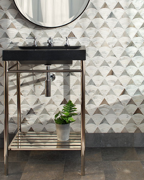 Lucet, a waterjet and hand-cut mosaic, shown in honed Angora, honed Afyon White, and tumbled Thassos, is part of the Bright Young Things™ collection by New Ravenna.