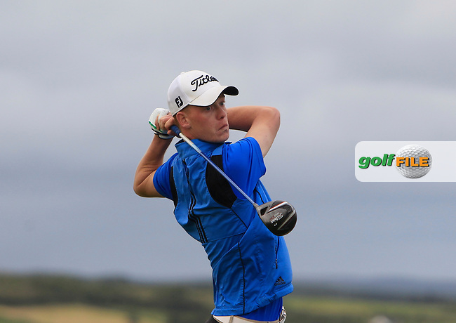 Evan Farrell (Ardee) on the 17th tee during Round 1 of the South of Ireland Amateur Open Championship at LaHinch Golf Club on Wednesday 22nd July 2015.<br /> Picture:  Golffile | Thos Caffrey