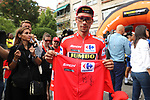 Race leader and overall winner Red Jersey Primoz Roglic (SLO) Team Jumbo-Visma at sign on before Stage 21 of La Vuelta 2019 running 106.6km from Fuenlabrada to Madrid, Spain. 15th September 2019.<br /> Picture: Luis Angel Gomez/Photogomezsport | Cyclefile<br /> <br /> All photos usage must carry mandatory copyright credit (© Cyclefile | Luis Angel Gomez/Photogomezsport)