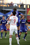 23 April 2009:  Jimmy Conrad (behind) of the Wizards wins a headball above Juan Pablo Angel (9) of the Red Bulls.  The MLS Kansas City Wizards defeated the visiting New York Red Bulls 1-0 at Community America Ballpark in Kansas City, Kansas.