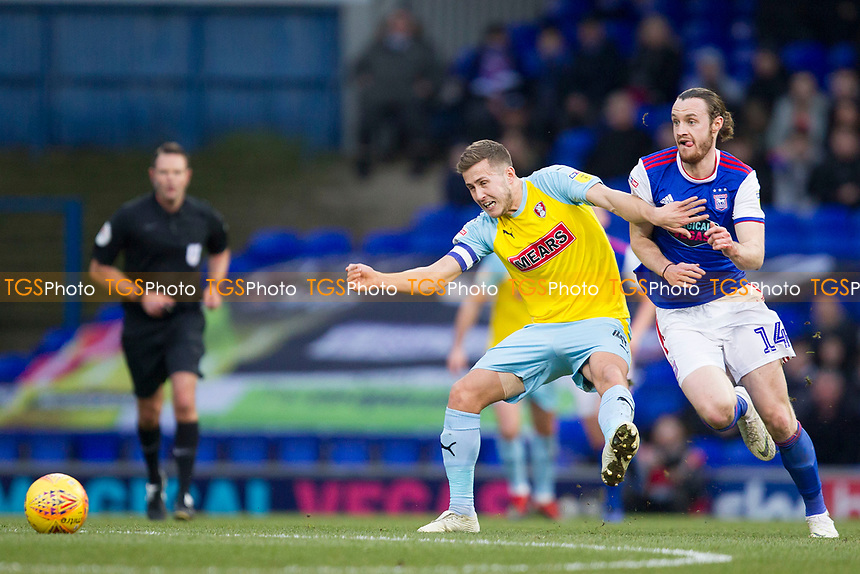 Will Vaulks of Rotherham United tries to hold off Will Keane of Ipswich Town during Ipswich Town vs Rotherham United, Sky Bet EFL Championship Football at Portman Road on 12th January 2019
