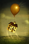 Illustrative image of house floating away with damaged balloon representing crash in real estate