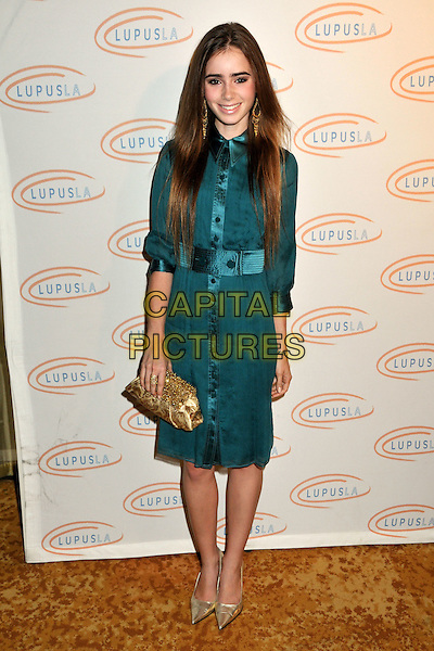 LILY COLLINS .6th Annual Lupus LA Hollywood Bag Ladies Luncheon at the Beverly Wilshire Hotel, Beverly Hills, California, USA, .07 November 2008..full length shirt dress purse clutch bag shoes pointy gold earrings blue teal green .CAP/ADM/BP.©Byron Purvis/Admedia/Capital PIctures