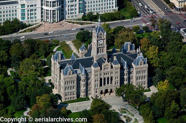 aerial photograph Salt Lake City and County Building, Washington Square, Salt Lake City, Utah