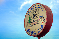 The world famous Snow Cap Drive in, located in Seligman Arizona on Historic Route 66. Juan Delgadillo opened the drive in in 1953 after building it with scrap lumber.