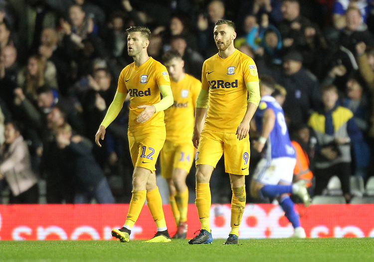 Preston North End's players look dejected<br /> <br /> Photographer Mick Walker/CameraSport<br /> <br /> The EFL Sky Bet Championship - Birmingham City v Preston North End - Saturday 1st December 2018 - St Andrew's - Birmingham<br /> <br /> World Copyright &copy; 2018 CameraSport. All rights reserved. 43 Linden Ave. Countesthorpe. Leicester. England. LE8 5PG - Tel: +44 (0) 116 277 4147 - admin@camerasport.com - www.camerasport.com