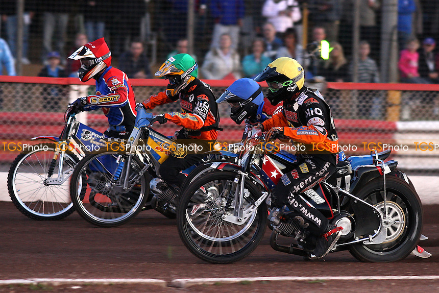 Heat 1: Jonsson (red), Lanham (blue), Lindgren (green), Kerr - Lakeside Hammers vs Wolverhampton Wolves - Elite League Speedway at Arena Essex, Purfleet - 22/08/08 - MANDATORY CREDIT: Gavin Ellis/TGSPHOTO - Self billing applies where appropriate - 0845 094 6026 - contact@tgsphoto.co.uk - NO UNPAID USE.