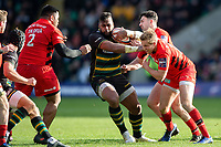 Taqele Naiyaravoro of Northampton Saints takes on the Saracens defence. Premiership Rugby Cup Final, between Northampton Saints and Saracens on March 17, 2019 at Franklin's Gardens in Northampton, England. Photo by: Patrick Khachfe / JMP