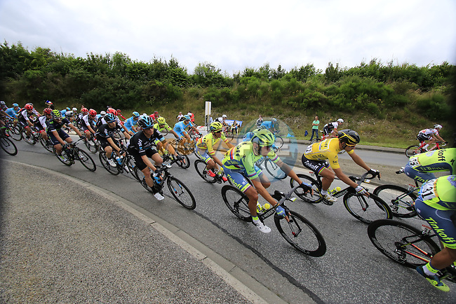 Riders including Yellow Jersey Peter Sagan (SVK) Tinkoff pass through Segre during Stage 3 of the 2016 Tour de France, running 223.5km from Granville to Angers, France . 4th July 2016.<br /> Picture: Eoin Clarke | Newsfile<br /> <br /> <br /> All photos usage must carry mandatory copyright credit (&copy; Newsfile | Eoin Clarke)