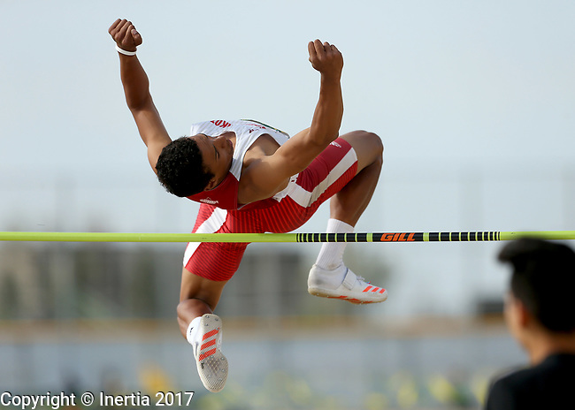 FARGO, ND - MAY 12: Zack Anderson from the University of South Dakota clears the bar during the men's high jump at the 2017 Summit League Outdoor Championship Friday afternoon at Ellig Sports Complex in Fargo, ND. (Photo by Dave Eggen/Inertia)