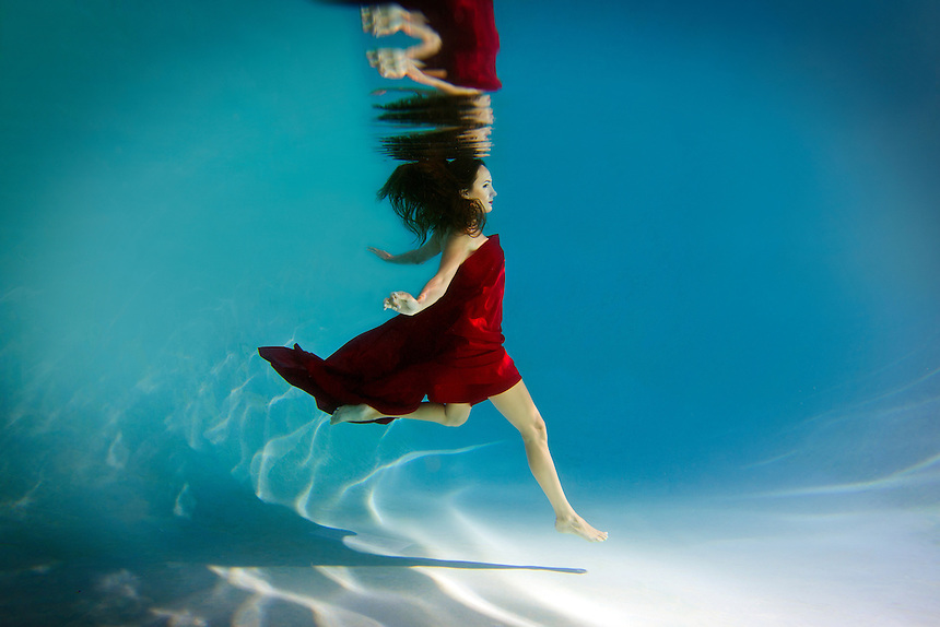 Photo by K.C. Alfred A female underwater fashion model.